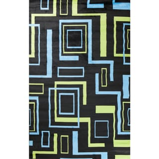 Machine-made Ingenue Collection Labyrinth Black Polypropylene Rug( 2'7X4')