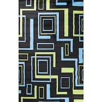 Machine-made Ingenue Collection Labyrinth Black Polypropylene Rug - 2'7 x 4'1
