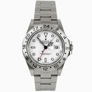 Pre-Owned Rolex Men's Explorer II with White Dial and 24-hour Bezel Watcg