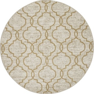 Machine-made Contempra Collection Quad Motif Polypropylene Rug( 7'10 x7'10)