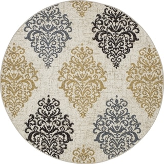 Machine-made Contempra Collection Baroque Polypropylene Rug( 7'10 x7'10)