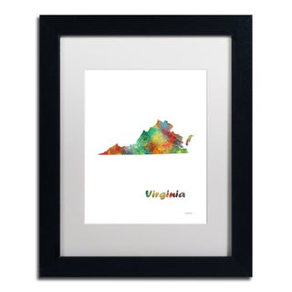 Marlene Watson 'Virginia State Map-1' Matted Framed Art