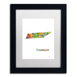 Marlene Watson 'Tennessee State Map-1' Matted Framed Art