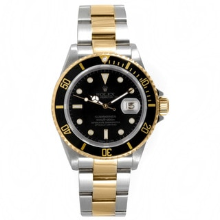 Pre-Owned Rolex Two-tone Submariner Sports Model with Black Dial and 18k Yellow Gold Directional Tim