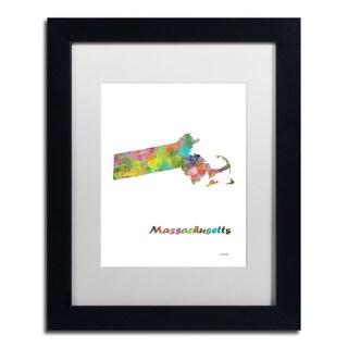 Marlene Watson 'Massachusetts State Map-1' Matted Framed Art