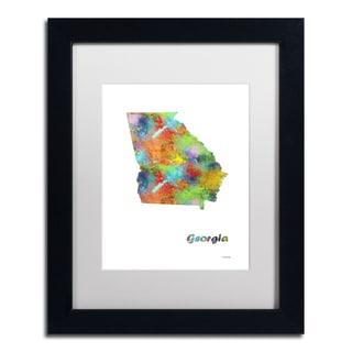 Marlene Watson 'Georgia State Map-1' Matted Framed Art