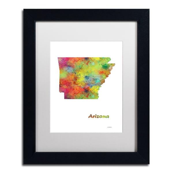 Marlene Watson 'Arizona State Map-1' Matted Framed Art