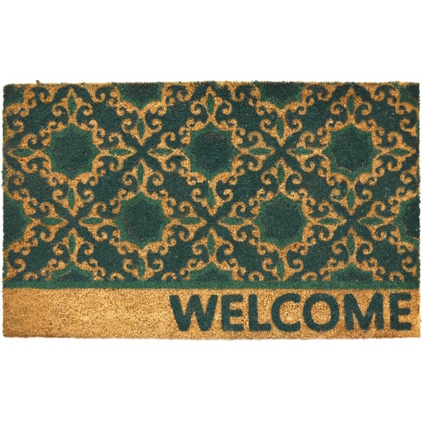Home Dynamix Fiesta Collection 'Welcome' Trellis Coir Mat (2' x 3')