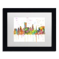 Marlene Watson 'Providence RI Skyline Mclr-1' Matted Framed Art