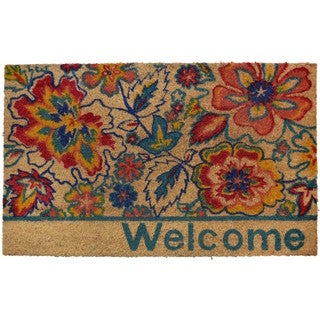 Home Dynamix Fiesta Collection 'Welcome' Flowers Coir Mat (2' x 3')