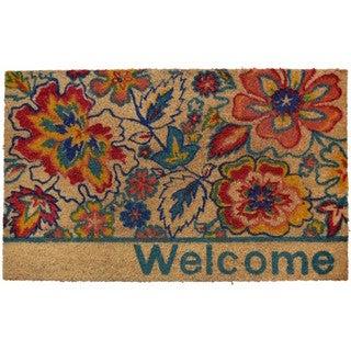 Home Dynamix Fiesta Collection 'Welcome' Flowers Coir Mat (2' x 3')