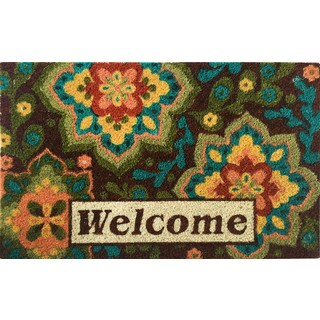 Home Dynamix Fiesta Collection 'Welcome' Medallion Coir Mat (2' x 3')