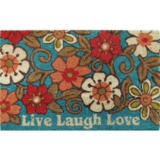 Fiesta Vinyl Backed Bleached 'Live Laugh Love' Coir Mat