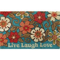 Home Dynamix Fiesta Collection 'Live Laugh Love' Coir Mat (2' x 3')