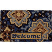 Home Dynamix Fiesta Collection 'Welcome' Medallion Navy Coir Mat (2' x 3')