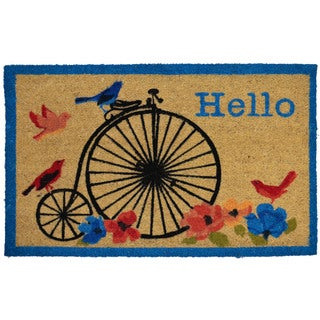Home Dynamix Fiesta Collection 'Hello' Bike Coir Mat (2' x 3')
