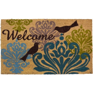 Fiesta Vinyl Backed Bleached Bird Damask Coir Mat