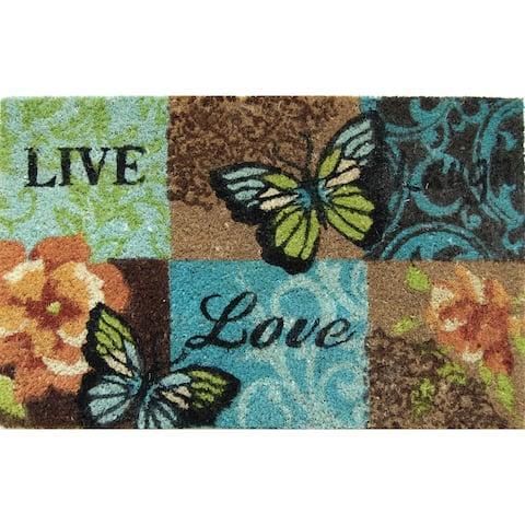 Home Dynamix Fiesta Collection 'Live Laugh Butterfly' Coir Mat (2' x 3')