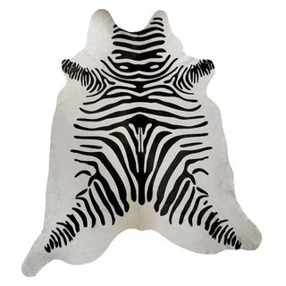 Zebra Print White Leather Hide Area Rug (Brazil)
