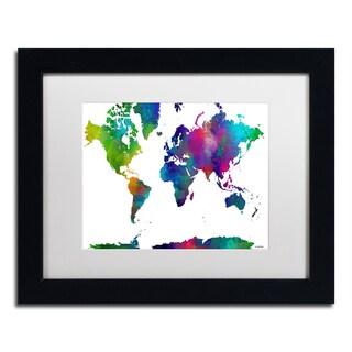 Marlene Watson 'World Map Clr-1' Matted Framed Art