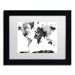 Marlene Watson 'World Map BG-1' Matted Framed Art