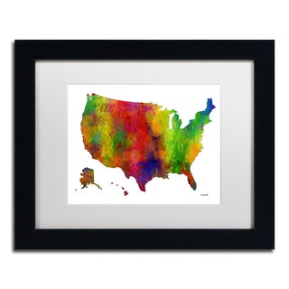 Marlene Watson 'USA Map Clr-1' Matted Framed Art