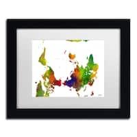 Marlene Watson 'Upside Down Map of the World Clr 1' Matted Framed Art