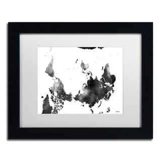 Marlene Watson 'Upside Down Map of the World BG-1' Matted Framed Art
