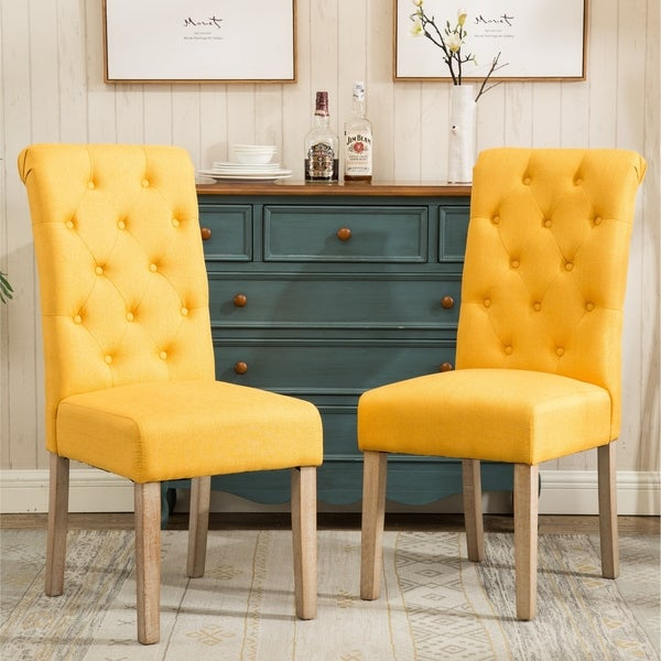 Habit Solid Wood Tufted Parsons Dining Chair (Set of 2)