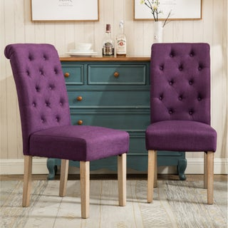 Copper Grove Slader Solid Wood Tufted Parsons Dining Chairs (Set of 2) (Option: Purple)