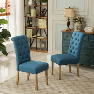 Copper Grove Slader Solid Wood Tufted Parsons Dining Chairs (Set of 2) (Option: Blue)