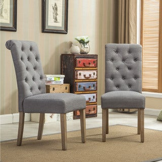 habit solid wood tufted parsons dining chair set of 2 - Wooden Dining Room Chairs