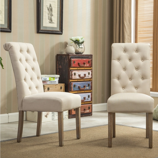 Habit Solid Wood Tufted Parsons Dining Chair (Set Of 2