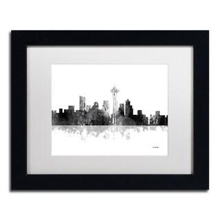 Marlene Watson 'Seattle Washington Skyline BG-1' Matted Framed Art