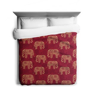 Henna Elephants, Elephant Duvet Cover, Printed in USA