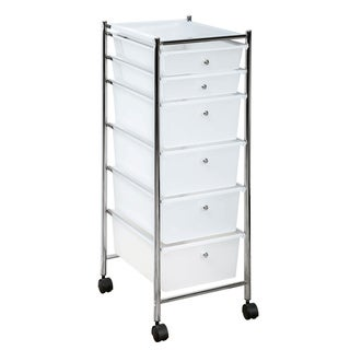 Frosty Clear Chrome Frame 6-drawer Rolling Cart