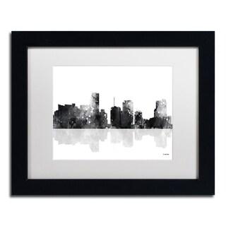 Marlene Watson 'Miami Florida Skyline BG-1' Matted Framed Art