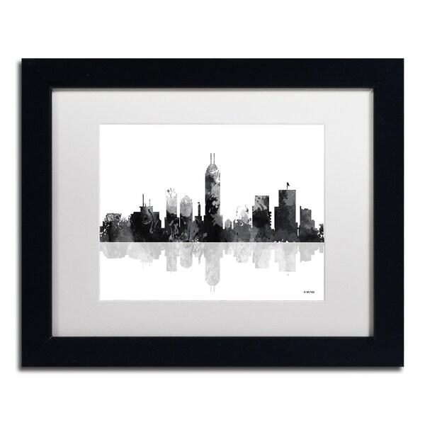 Marlene Watson 'Indianapolis Indiana Skyline BG-1' Matted Framed Art