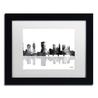 Marlene Watson 'Columbus Ohio Skyline BG-1' Matted Framed Art