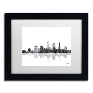 Marlene Watson 'Cleveland Ohio Skyline BG-1' Matted Framed Art