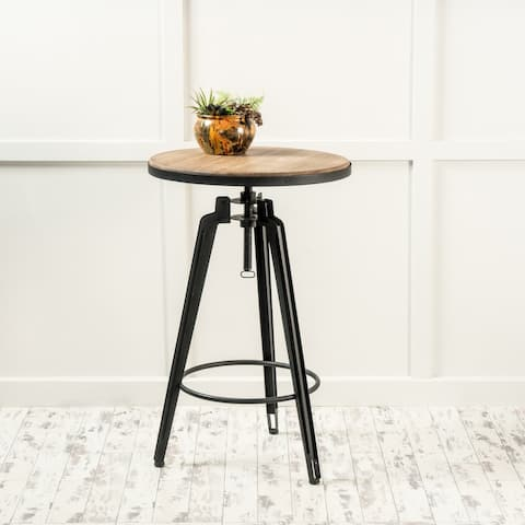 Isla Rustic Wood Round Swivel Bar Table by Christopher Knight Home