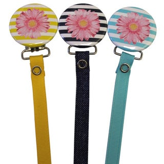 Pink Flower on Striped Background Pacifier Clip