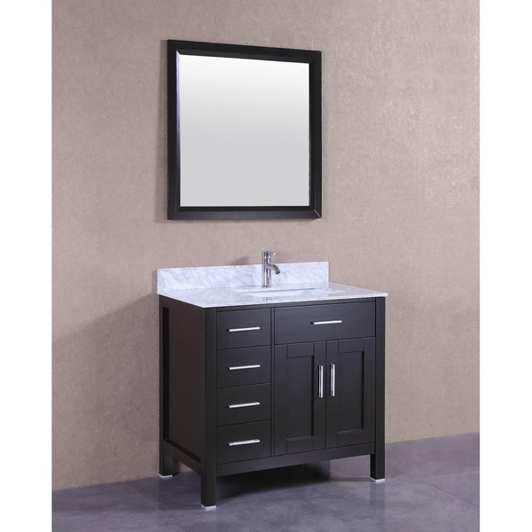 Shop 36 Quot Espresso Single Sink Bathroom Vanity With Marble