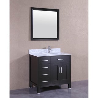 "36"" Espresso Single Sink Bathroom Vanity with Marble Sink Top & Backsplash"