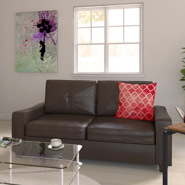 Porch & Den Dibble Brown Bonded Leather Plush Sofa or Loveseat