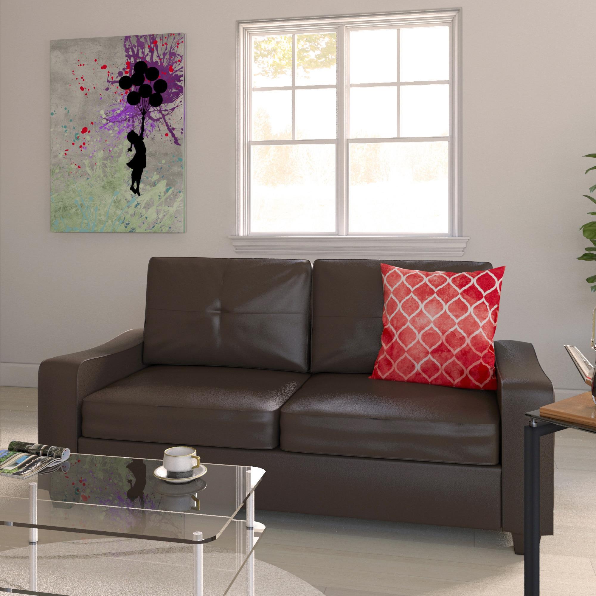 Ballard Dibble Brown Bonded Leather Plush Sofa Or Loveseat