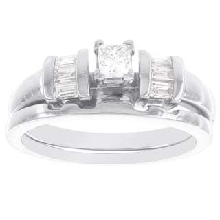 H Star 14k White Gold 1/2ct TDW Diamond Princess-cut Bridal Set (I-J, I2-I3)