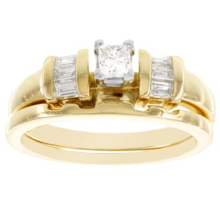 H Star 14k Yellow Gold 1/2ct TDW Diamond Princess Bridal Set (I-J, I2-I3)