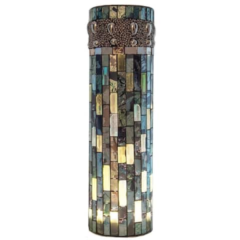 """10-inch High Bluebell Lit Mosaic Vase with LED Lights - 3.175""""L x 3.175""""W x 10.75""""H"""