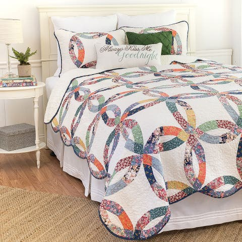 Heritage Wedding Ring Hand-pieced Patchwork Cotton 3-piece Quilt Set